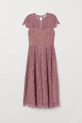 H&M Calf-length Lace Dress - Pink