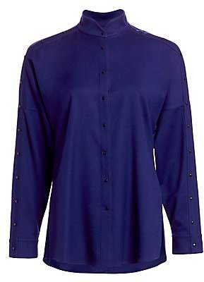 Akris Punto Women's Mandarin Collar Snap Button Blouse