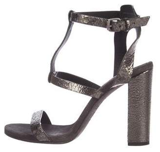 Brunello Cucinelli Metallic T-Strap Sandals