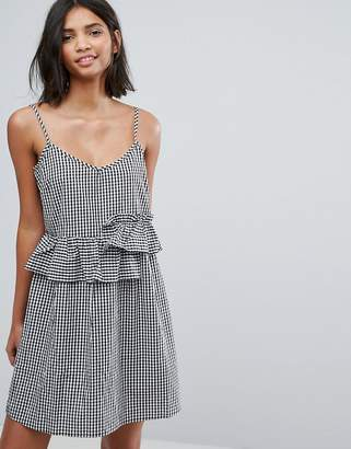 Lost Ink Mini Dress With Frills In Gingham $54 thestylecure.com