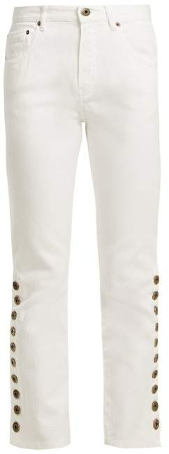 Mid-rise kick-flare cropped jeans