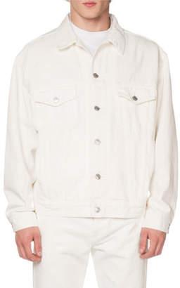 Balenciaga Men's Embroidered Logo Jean Jacket