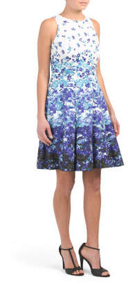 Printed Cotton Blend Fit And Flare Dress