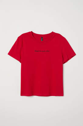 H&M T-shirt with Printed Motif - Red