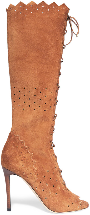 Jimmy Choo Jimmy Choo Davy perforated suede peep-toe knee boots