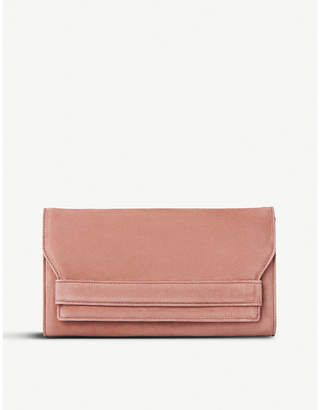 LK Bennett Dark Pink Elegant Ella Suede Clutch Bag