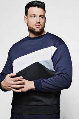 boohoo Big And Tall Spliced Colour Block Sweater