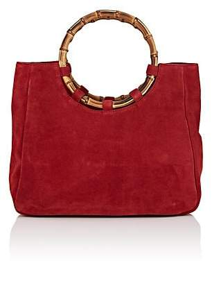 Barneys New York WOMEN'S BAMBOO-TRIMMED SUEDE TOTE BAG - RED