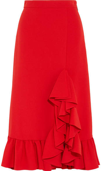 MSGM - Ruffled Crepe Midi Skirt - Red