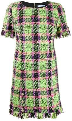 Blumarine check print fringed dress