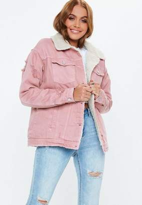 Missguided Pink Borg Lined Denim Jacket