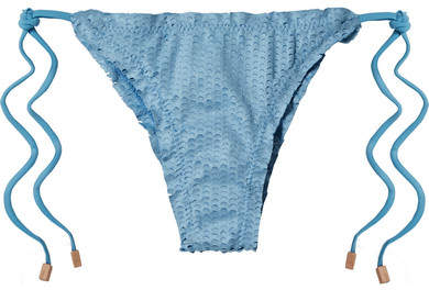 Vix Cloud Scales Ripple Perforated Bikini Briefs - Sky blue