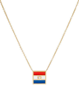 K Kane Code Flag Square Diamond Pendant Necklace - T