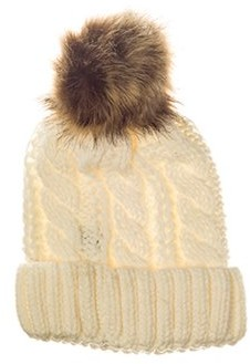 42fe37172c6de Pop Fashionwear Inc Chunky Knit Beanie with Faux Fur Pom Pom 909HB