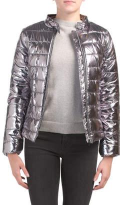 Juniors Metallic Puffer Coat