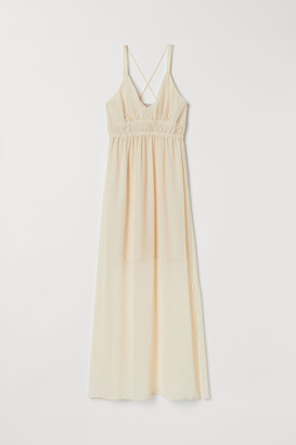 H&M V-neck Maxi Dress - Beige