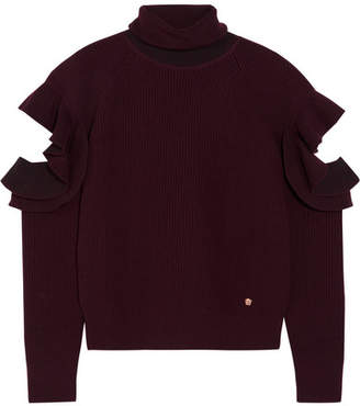 Versace - Cutout Ribbed Wool-blend Turtleneck Sweater - Burgundy $995 thestylecure.com