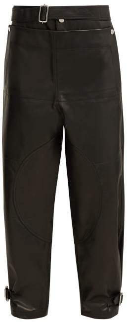 Fold Front Leather Trousers - Womens - Black