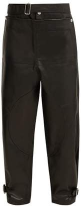 J.W.Anderson Fold Front Leather Trousers - Womens - Black