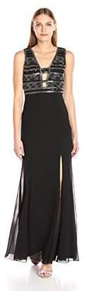 Adrianna Papell Women's Sleevless Long Beaded Plunge V Neck Gown