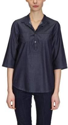 Cross Jeans Women's Mao 3/4 sleeve Blouse - Blue - Blau (brilliant rinsed) - (Brand size: L)