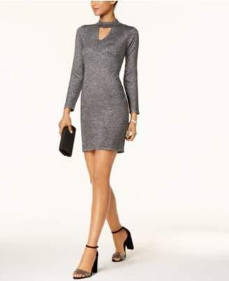 Connected Metallic Mock-Neck Sweater Dress, Regular & Petite Sizes