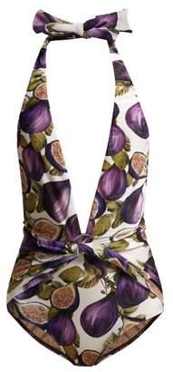 Adriana Degreas Fig Print Halterneck Swimsuit - Womens - Purple Print