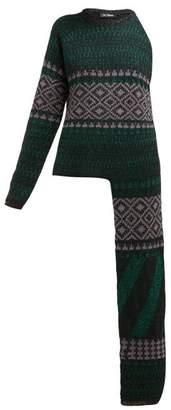 Raf Simons Draped Arm Fair Isle Lame Sweater - Womens - Green Multi