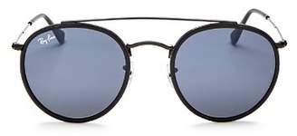 Ray-Ban Unisex Icons Retro Brow Bar Round Sunglasses, 50mm