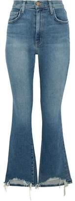 Current/Elliott Distressed High-Rise Kick-Flare Jeans