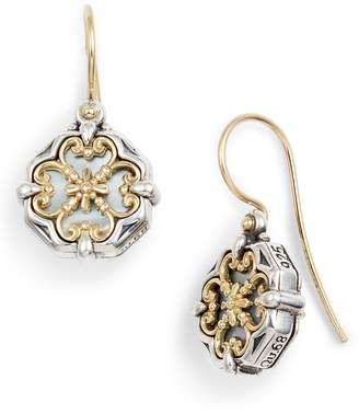 Konstantino Etched Sterling Silver and Gold Drop Earrings
