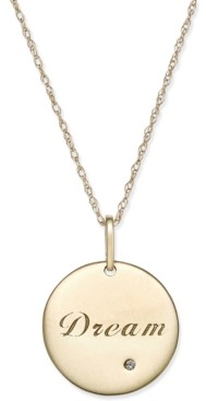 Macy's Swarovski Zirconia Inspirational Disc Pendant Necklace in 10k Gold