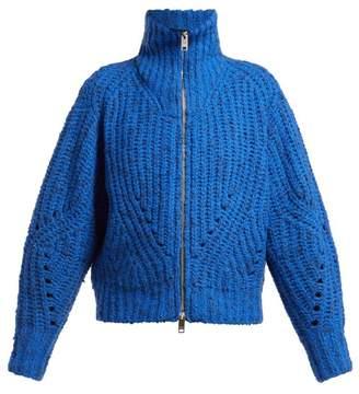 Isabel Marant Janet High Neck Merino Sweater - Womens - Blue