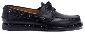 Valentino 'Soul Rockstud' ribbon calfskin leather loafers
