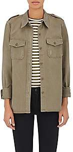 Barneys New York Women's Distressed Cotton Twill Shirt - Army