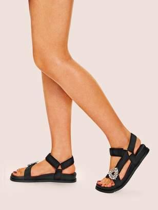 b22342db45d7 Rhinestone Flat Sandals - ShopStyle