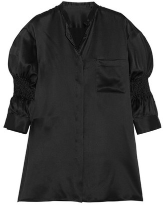 Haider Ackermann - Smocked Silk-satin Shirt - Black $1,000 thestylecure.com