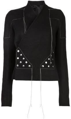 Rick Owens stitched wrap-around jacket