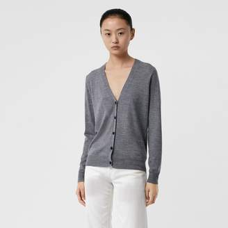 Burberry Check Detail Merino Wool Cardigan , Size: XL, Grey
