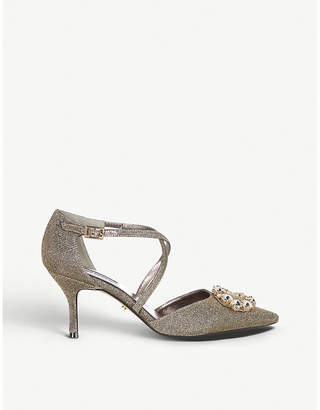 Dune Dellores embellished metallic-knit courts