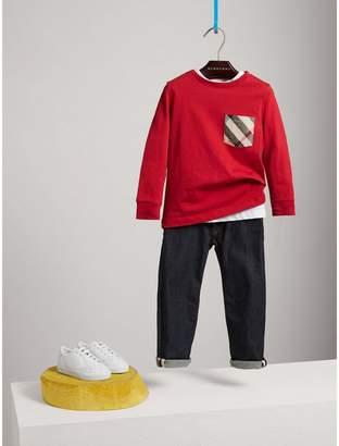 Burberry Long-sleeve Check Pocket Cotton T-shirt