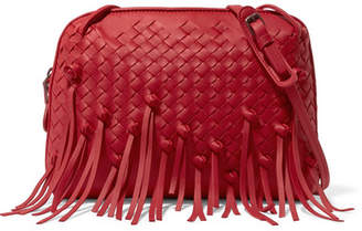 Bottega Veneta Nodini Fringed Intrecciato Leather Shoulder Bag - Red