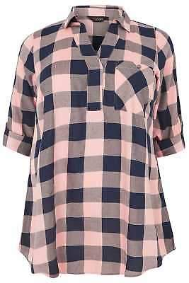 Yours Clothing Women's Plus Size Pink & Blue Check Print Longline Pocket Shirt With Metallic Th
