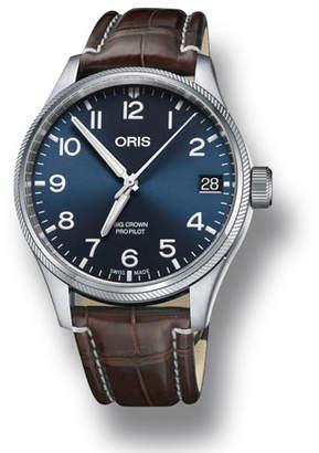 Oris Men's 41mm Propilot Watch w/ Leather Strap, Blue/Brown