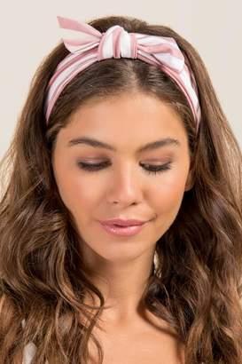 francesca's Alivia Striped Bow Headwrap in Blush - Blush