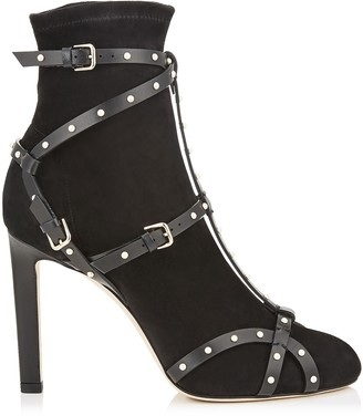 Jimmy Choo BRIANNA 100 Black Stretch Suede Booties with Black Leather and Pearl Harness