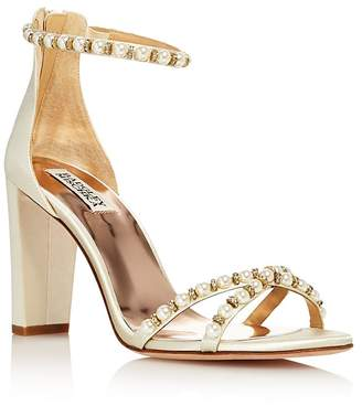 Badgley Mischka Women's Hooper Embellished Satin High Block Heel Sandals