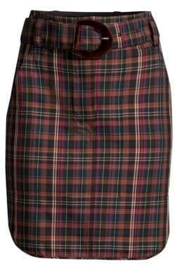 Sandro Belted Plaid Mini Skirt
