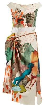 Marni Statue And Brushstroke Draped Cotton Blend Dress - Womens - Ivory Multi