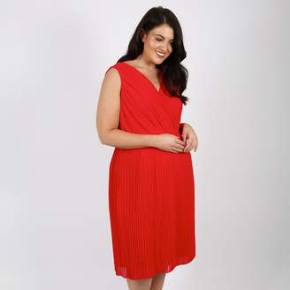 LOVEDROBE Pleated V-Neck Dress